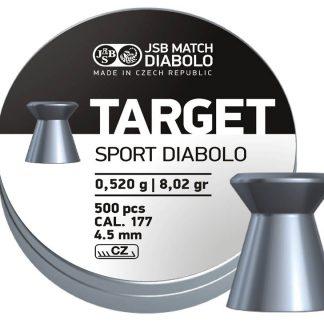 JSB Diabolo Target Sport 0.177 Cal (4.5mm) Airgun Pellets   8.02gr, Wadcutter, 500ct