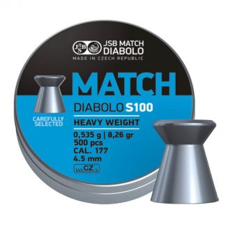 JSB Blue Match Diabolo S100 Heavy Weight 0.177 Cal (4.5mm) Airgun Pellets | 8.26gr, Wadcutter, 500ct